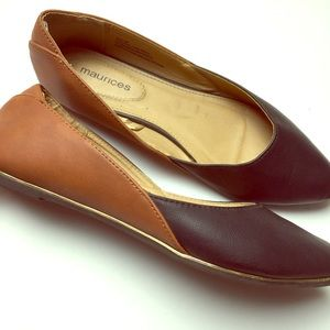 Maurices Leather Brown Black Flats Shoes Size 9